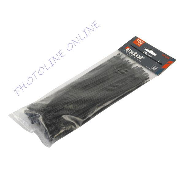 Gyorskötöző, kábelkötegelő, 100db-os, fekete nylon 4,8x250mm (8856160)