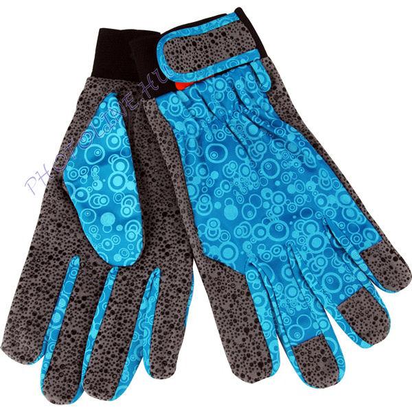 Kerti kesztyű, tenyér: szintetikus bőr, szilikon gél pöttyökkel/ lurex kézhát, méret: 9