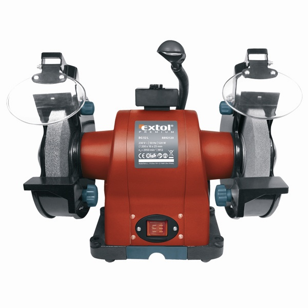 Kettős köszörűgép 520W, száraz, 200×16×25mm, (P36, P80), 2950 ford/perc, lámpával (8892120)
