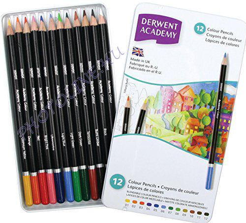 Derwent academy színes ceruzák, 12 szín, fémdoboz