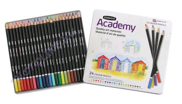 Derwent academy színes ceruzák, 24 szín, fémdoboz