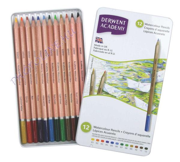 Derwent academy akvarell ceruzák, 12 szín, fémdoboz
