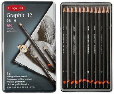 Grafikai tervező grafitceruzakészlet 12 db-os, kemény (B - 9H) Derwent
