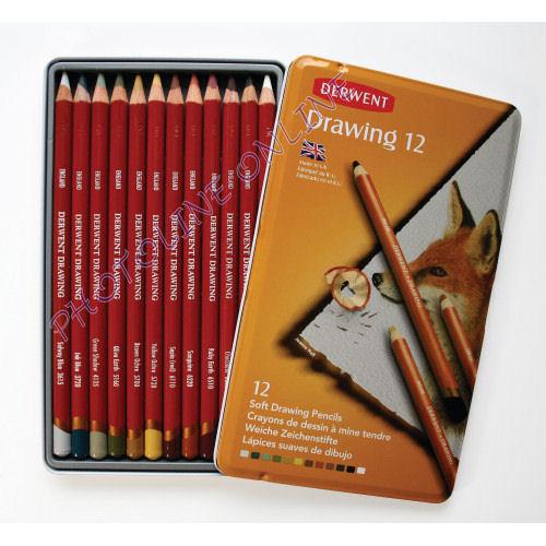 Derwent Drawing Rajzceruza készlet 12 db-os fém tokban