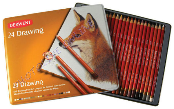 Derwent Drawing Rajzceruza készlet 24 db-os fém tokban