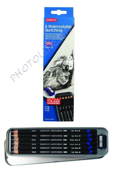 Derwent skicc ceruzák, 2*HB, 2*4B, 2*8B (6db), fémdoboz