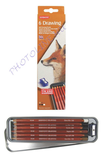 Derwent rajzceruzák, 6 db, fémdoboz