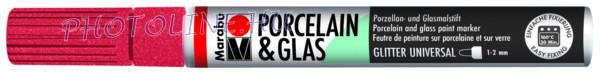 Porcelán & Üveg filctoll GLITTER PIROS 1-2mm