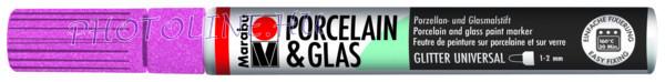 Porcelán & Üveg filctoll GLITTER RÓZSA 1-2mm