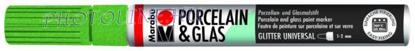 Porcelán & Üveg filctoll GLITTER ZÖLD 1-2mm