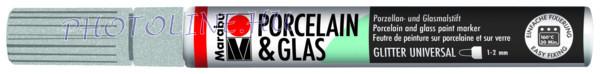 Porcelán & Üveg filctoll GLITTER EZÜST 1-2mm