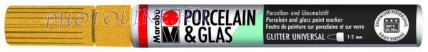 Porcelán & Üveg filctoll GLITTER ARANY 1-2mm
