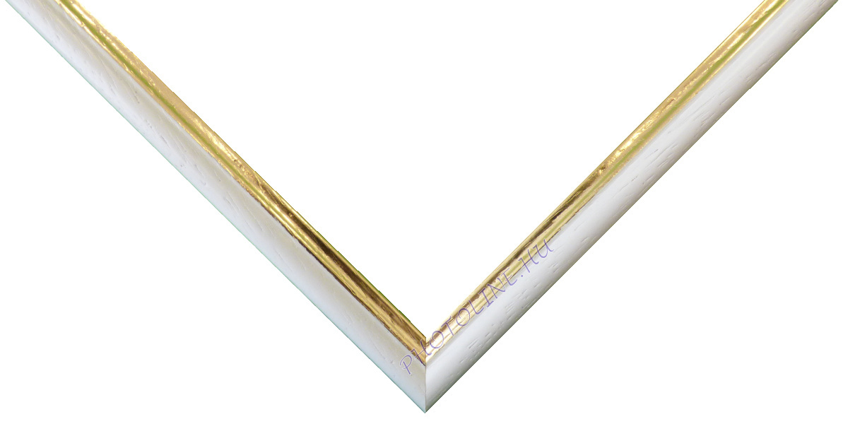 Egyedi keretezés 13 mm profil, fehér elöl arany