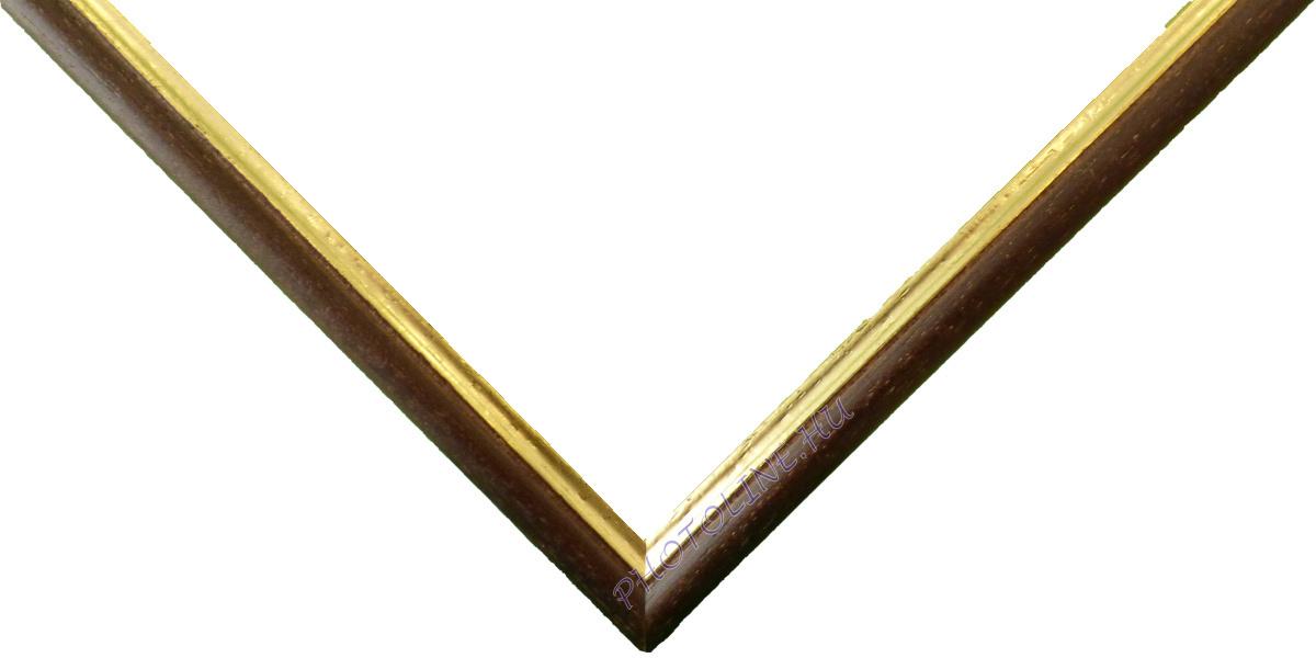 Egyedi keretezés 13 mm profil, barna pácolt elöl arany