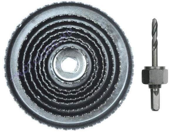 Körkivágó készlet 9 részes, 38-127 mm, befogó szárral