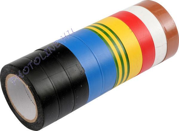 PVC szigetelő szalag 15mm x 10m, 10 darab/csomag különböző színek egy csomagban