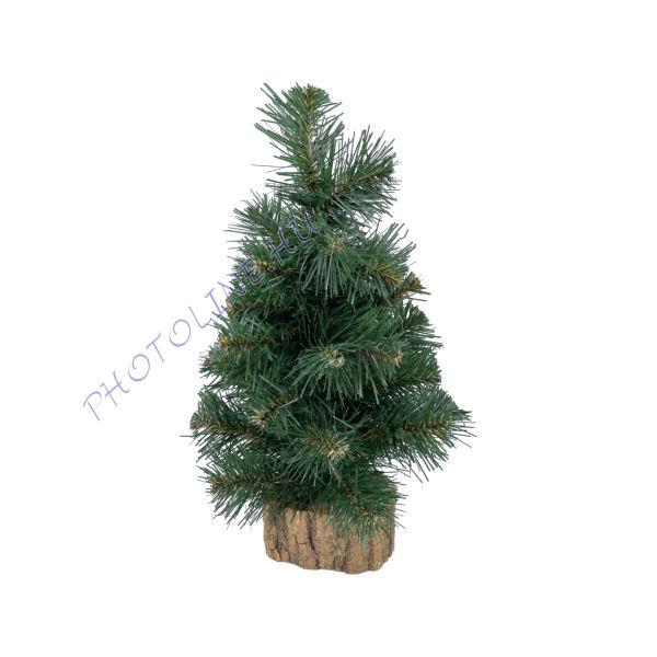 Fenyőfa - 36 cm, fatalpas, zöld karácsonyfa
