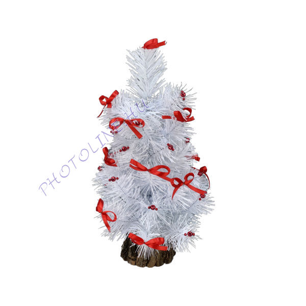 Fenyőfa - 36 cm, fatalpas, fehér fenyő, feldíszítve