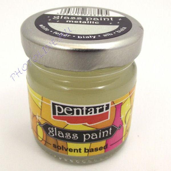 Üvegfesték (áttetsző lakk) 30 ml, gyöngyfehér (metál fehér)