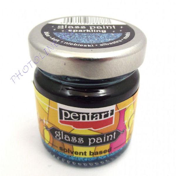 Üvegfesték (áttetsző lakk) 30 ml, csillogó kék