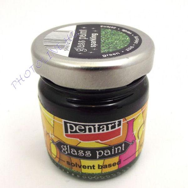 Üvegfesték (áttetsző lakk) 30 ml, csillogó zöld