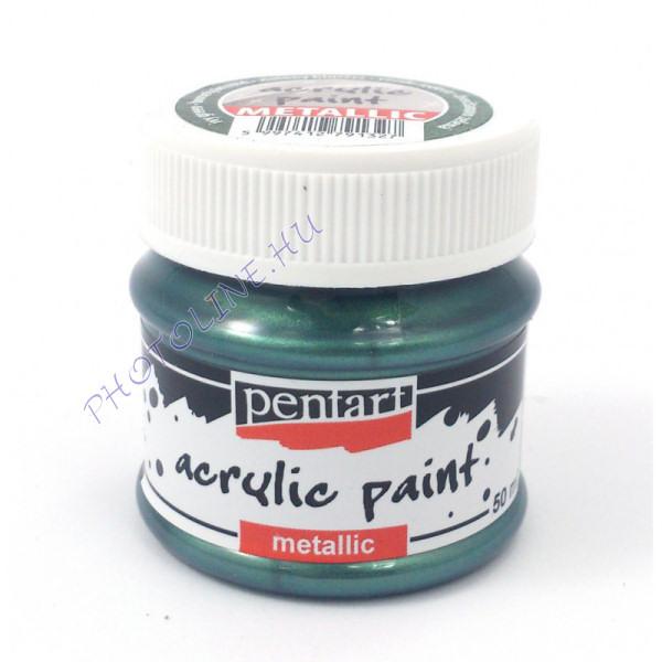 Metál akrilfesték 50 ml borostyánzöld