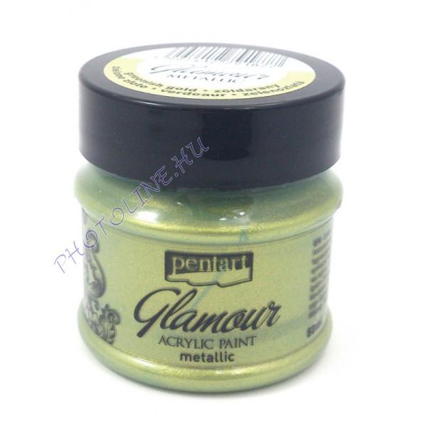 Glamour metál akrilfesték 50 ml zöldarany