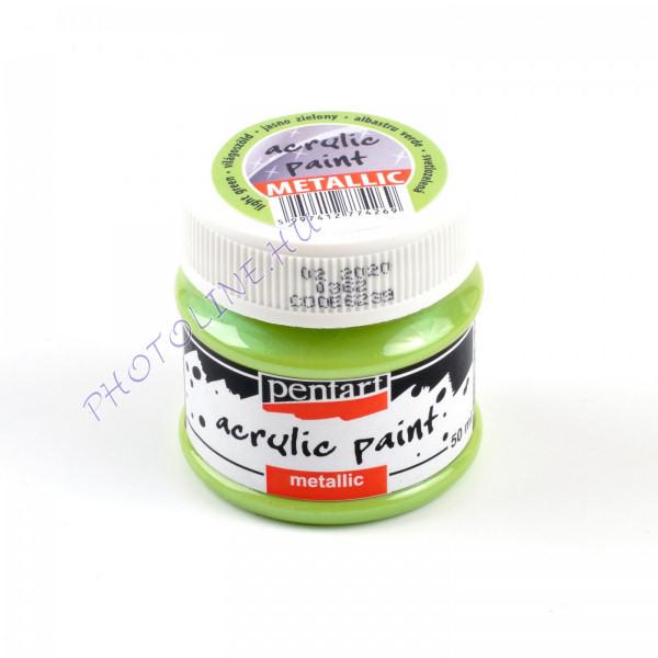 Akrilfesték metálfényű 50 ml, világoszöld