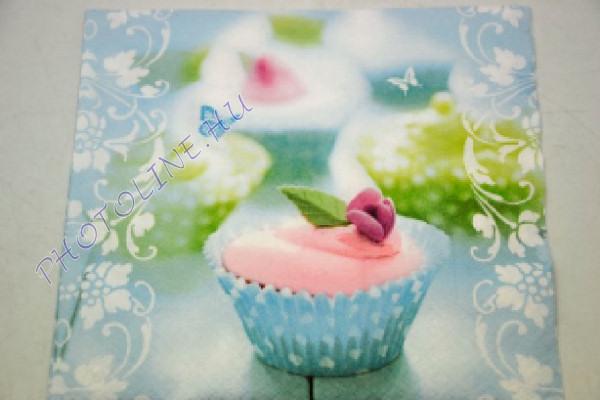 Decoupage Szalvéta Muffin Pillangókkal