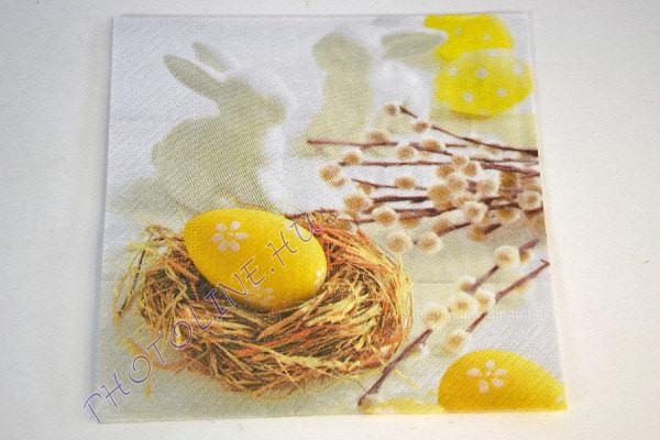 Decoupage Szalvéta 33*33cm húsvéti sárga tojás