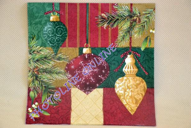 Decoupage Szalvéta 33*33cm Karácsonyi Díszek piros-zöld